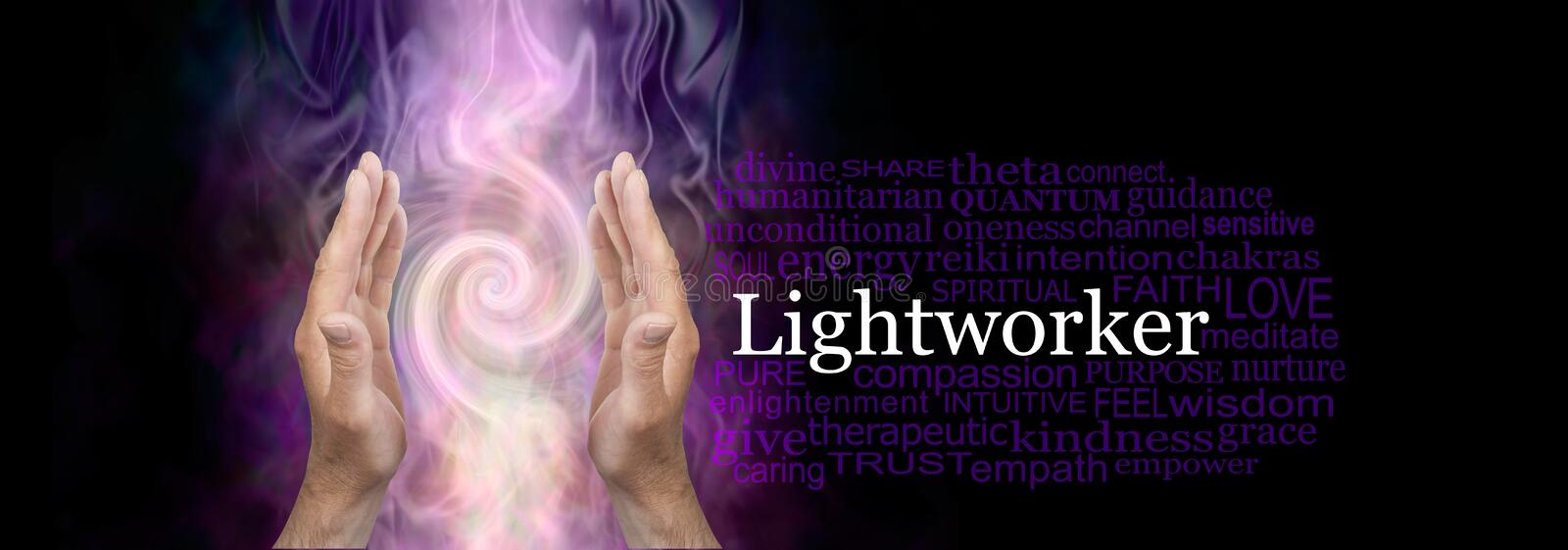 The healing hands of a male Light worker word cloud royalty free stock photography