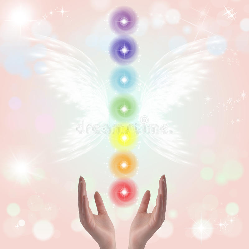 Healing Hands and seven chakras stock illustration