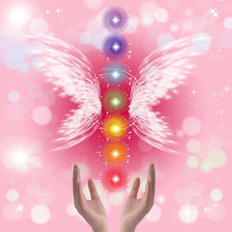 Healing Hands and seven chakras. On a sparkling pastel coloured background royalty free illustration