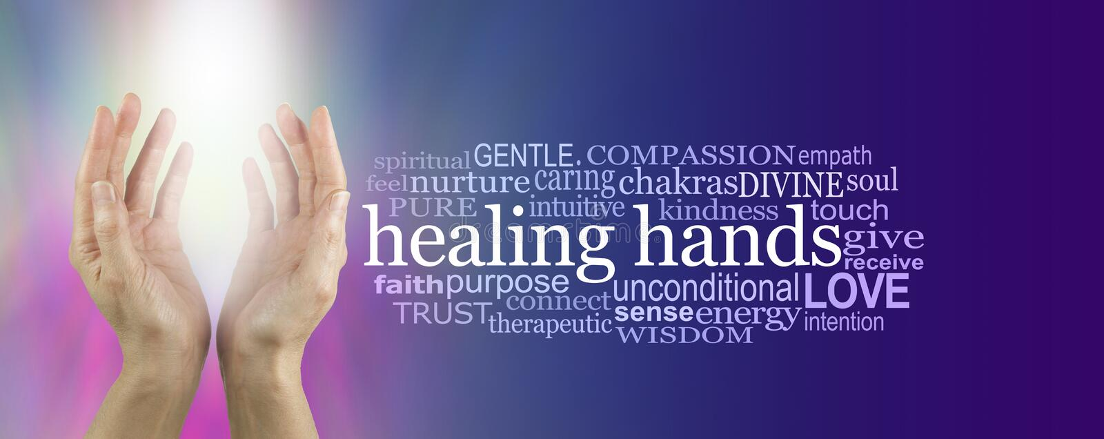 Healing Hands Word Cloud. Female hands reaching up with bright white shaft of light between on a pink and blue background with a HEALING HANDS word cloud on stock photos