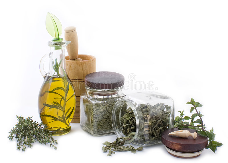 Healing herbs and edible flowers 2 royalty free stock image