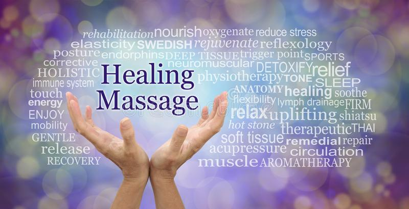 Healing Massage Word Tag Cloud. Female hands reaching up to the words HEALING MASSAGE surrounded by a relevant word cloud against a purple and gold bokeh royalty free stock photography