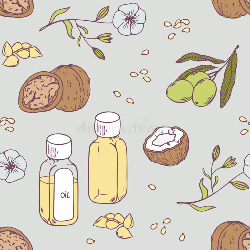 Healing oils seamless pattern. Healthy background royalty free illustration