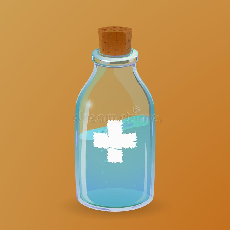 Healing potion bottle. Cartoon style stock illustration