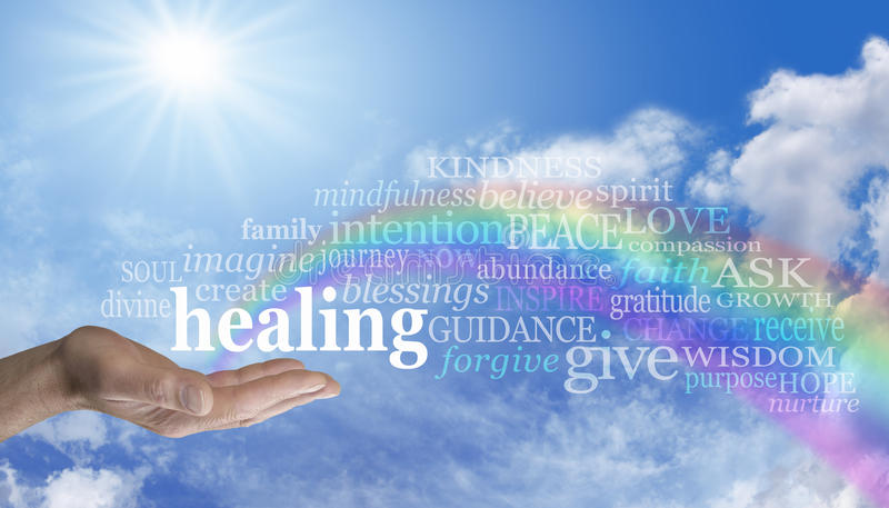 Healing Rainbow Sky Word Cloud. Blue sky and clouds with a man's hand palm up and the word 'healing' above as a rainbow arcs out of his palm with healing words stock illustration