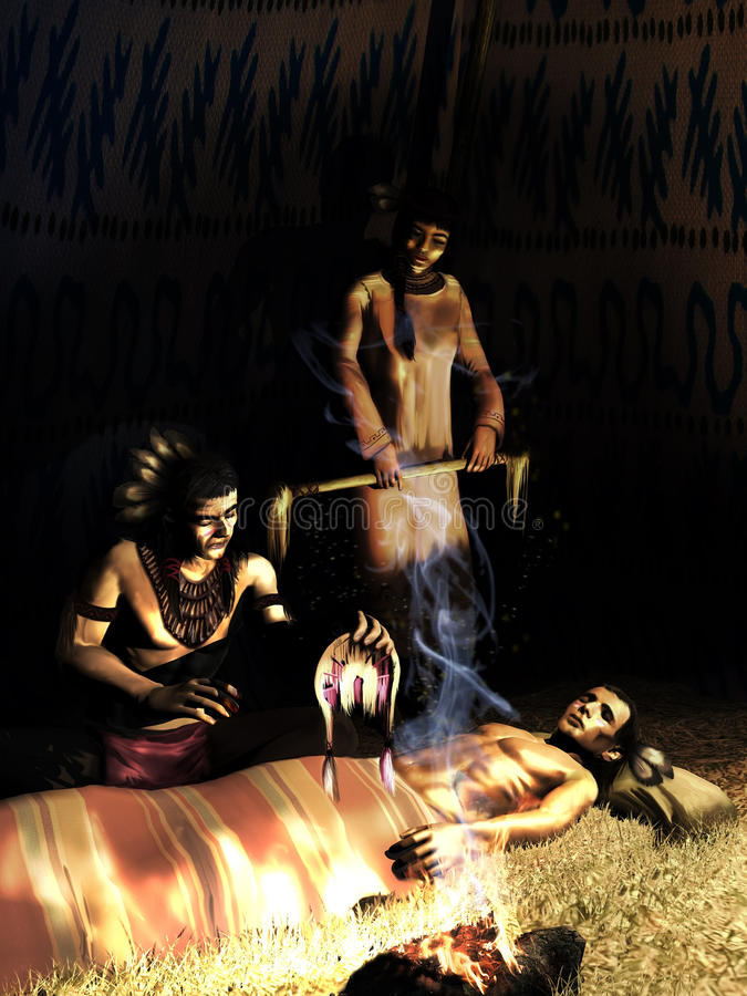 Healing Ritual. Native american under a tent. An old native is practicing a healing ritual on the body of a younger injured native, under the expectation of a stock illustration