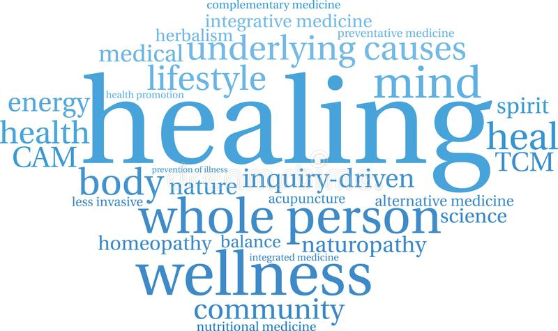 Healing Word Cloud. On a white background stock illustration