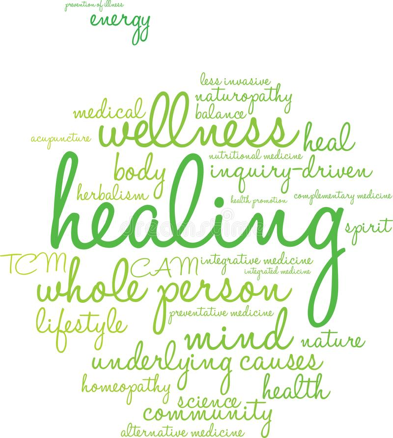 Healing Word Cloud. On a white background vector illustration