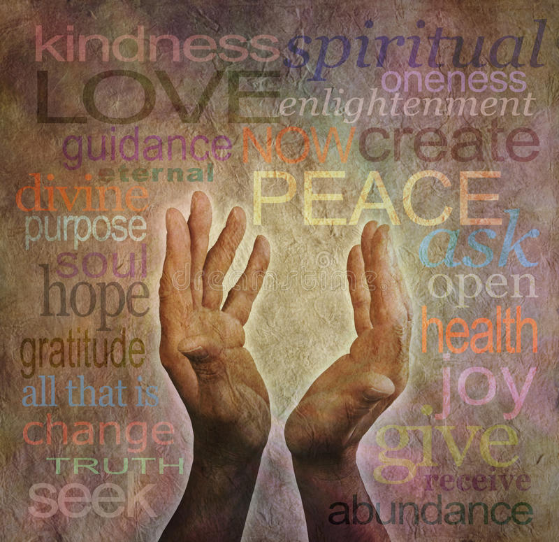 Healing words and hands on rustic parchment royalty free illustration