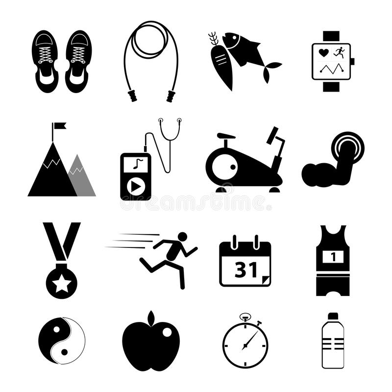 Free Health And Fitness Icons Set For Web Design Stock Image - 50342521