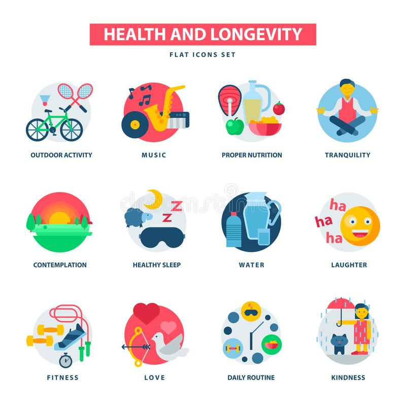 Free Health And Longevity Icons Modern Activity Durability Vector Natural Healthy Life Product Food Nutrition Illustration Stock Photography - 101474872