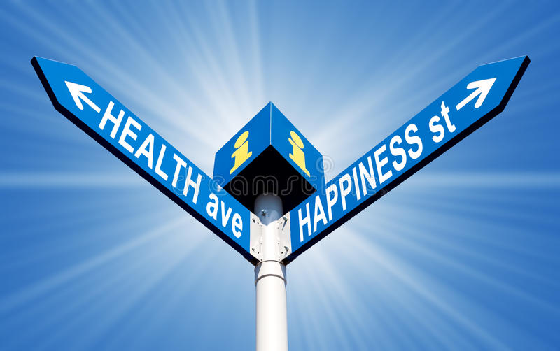 Health ave and happiness st. Street post with health ave and happiness st signs stock image