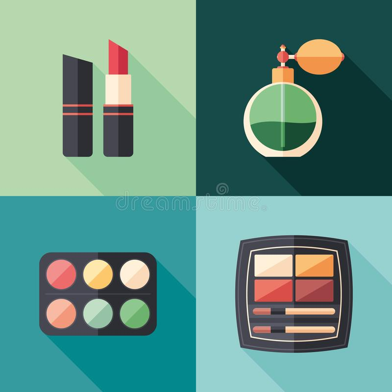 Health and beauty flat square icons with long shadows. stock illustration