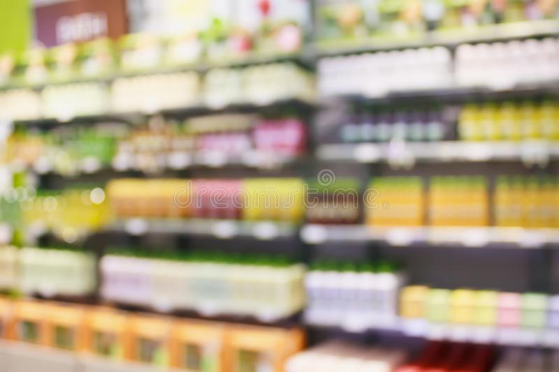 Beauty and cosmetic shop abstract blur background royalty free stock photo