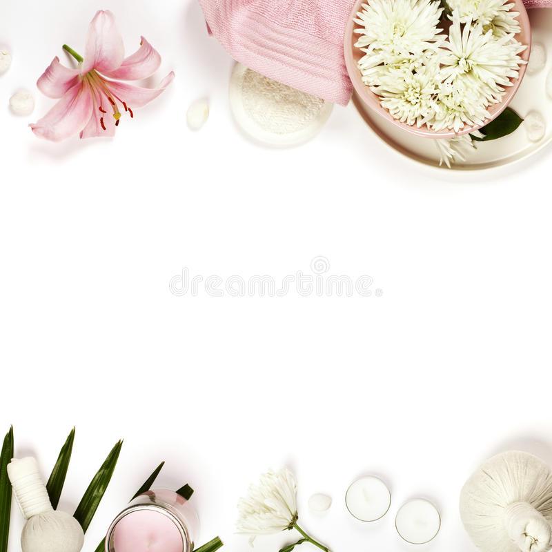Health and beauty template with Natural spa products stock image