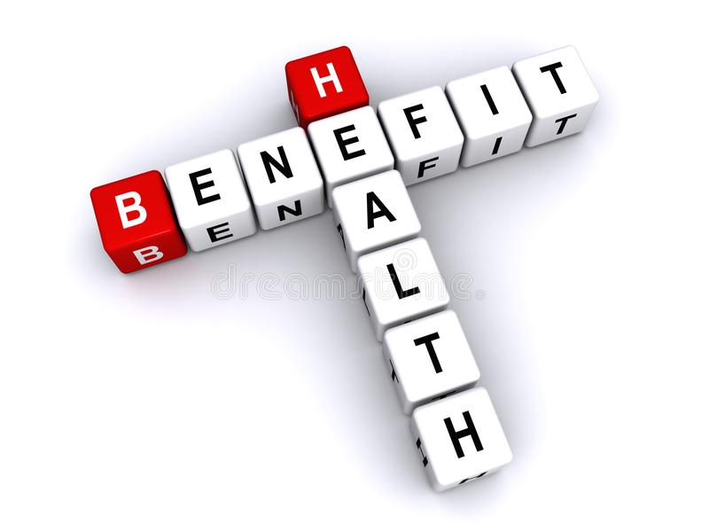 Health benefit. Text 'health benefit' with uppercase letters inscribed on small cubes and arranged crossword style with common letter 'e' white background royalty free illustration