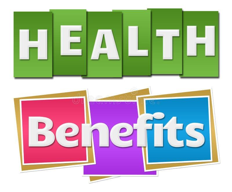 Health Benefits Colorful Stripes Squares stock illustration