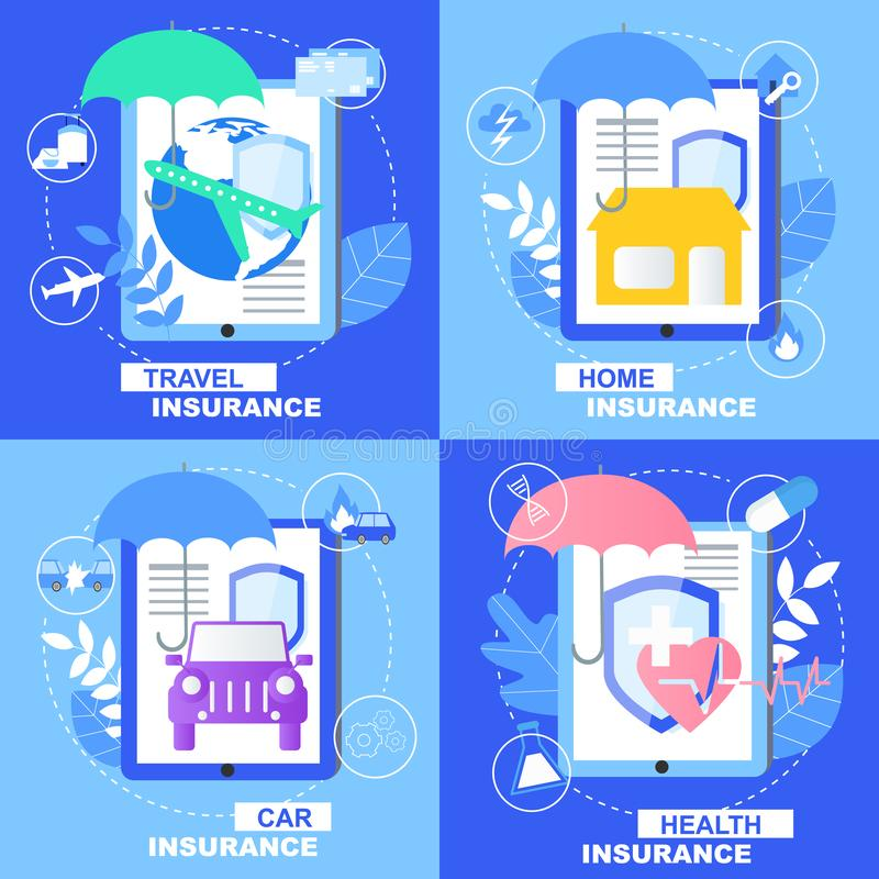 Health Car Home Travel Insurance Healthcare Banner. Health Car Home Travel Insurance Banner Set with Shield Umbrella Sign Vector Illustration. Family Protection royalty free illustration