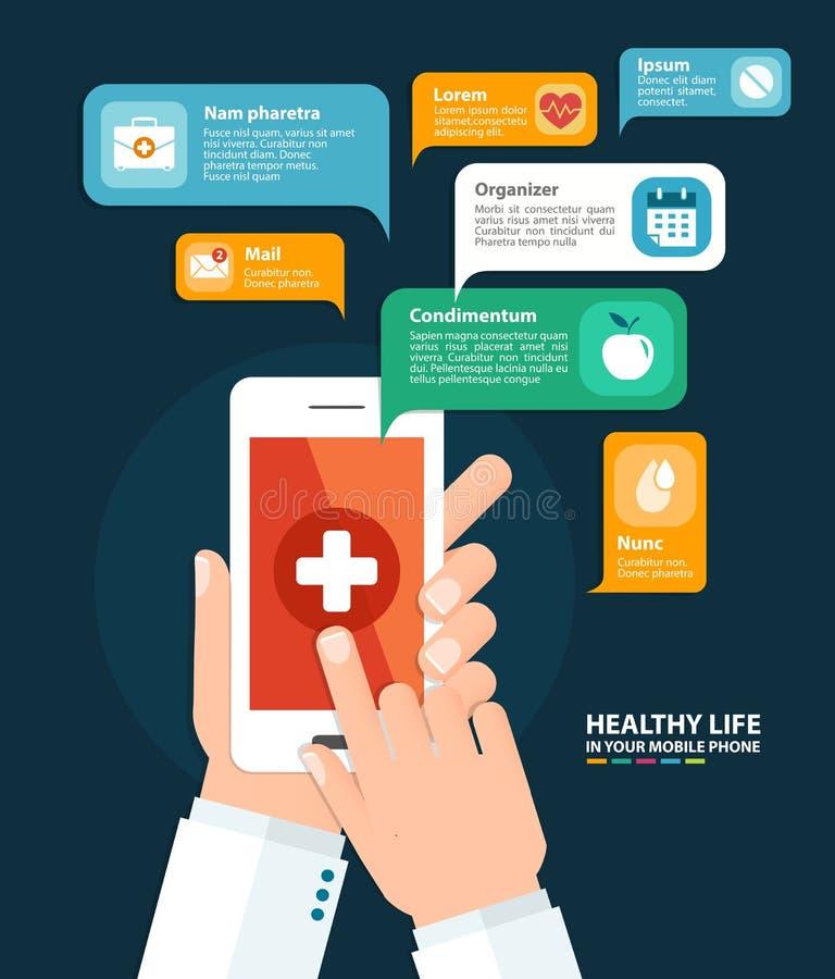 Health care app. Vector illustration. Hand holding a phone with health care app. Vector illustration in flat style vector illustration