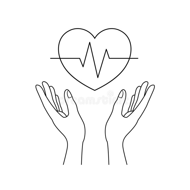 Human hands holding outline heart shape with ecg line. Health care and charity concept. Vector illustration isolated on white background stock illustration