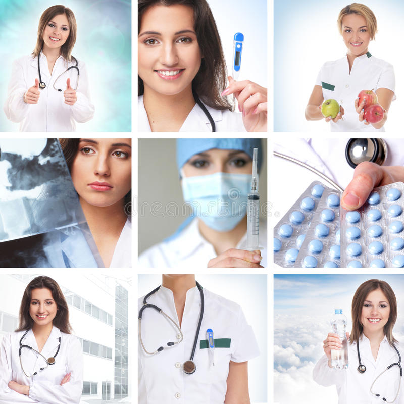 Health care collage made of some pictures royalty free stock images