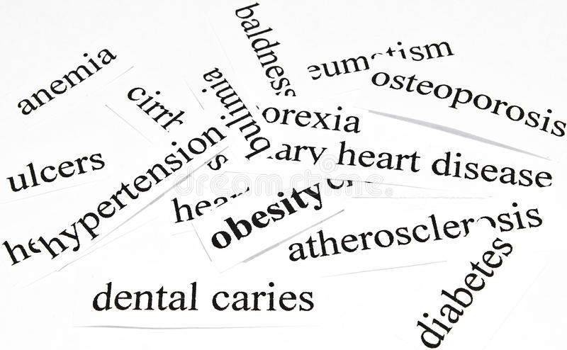 Health care concept of diseases caused by unhealthy nutrition. Obesity. Health care concept of diseases caused by unhealthy nutrition royalty free stock photography