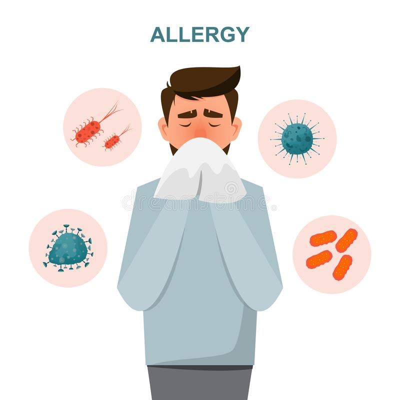Health care concept. man get sick allergy symptoms. Vector illustration cartoon character flat style, infographic, sneeze, allergies, sneezing, skin, icon royalty free illustration