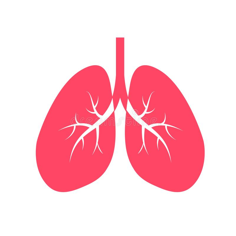 Human lung icon design, flat style. stock illustration