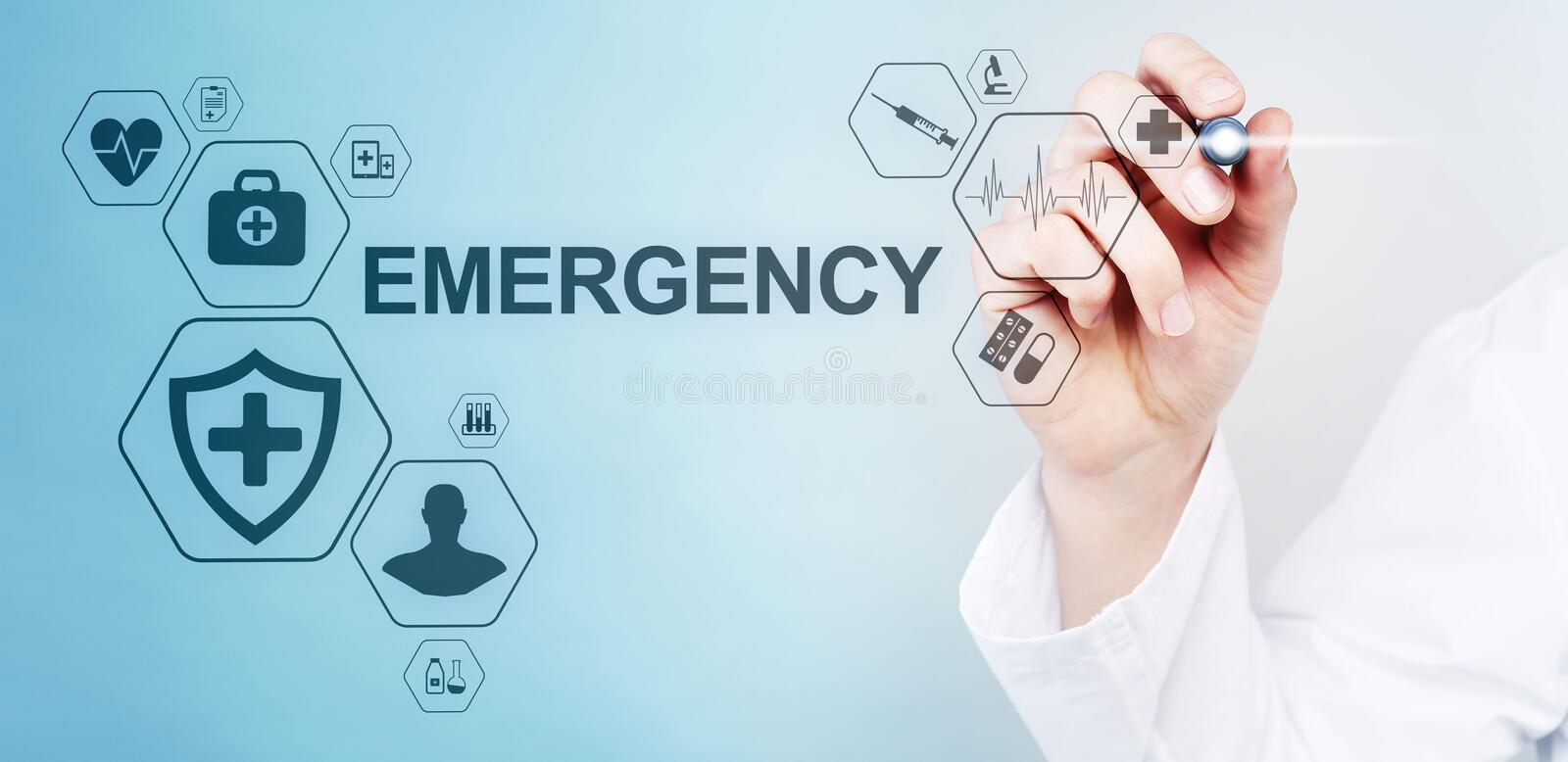 Health Care Emergency concept on screen. Medical doctor using computer. Health Care Emergency concept on screen. Medical doctor using computer royalty free illustration