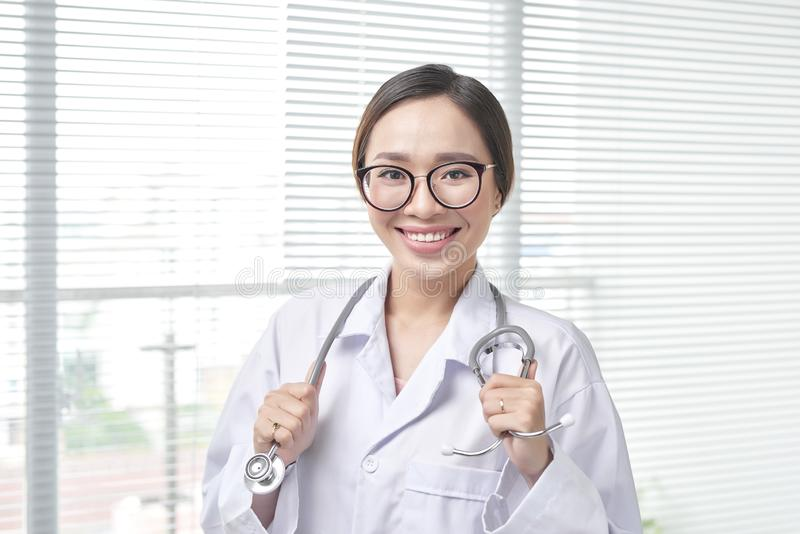 Health care friendly professional worker. Patient visit royalty free stock image