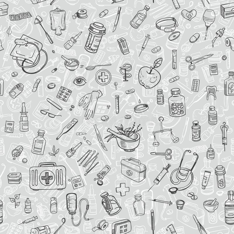 Health care hand drawn seamess background. Vector royalty free illustration