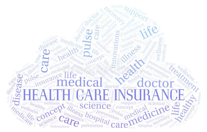 Health Care Insurance word cloud. Wordcloud made with text only royalty free illustration