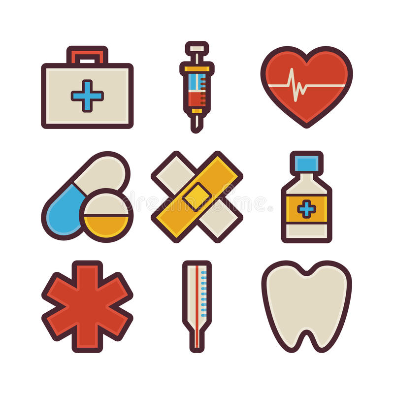Health Care and Medical Items Modern Flat Icons Set stock illustration