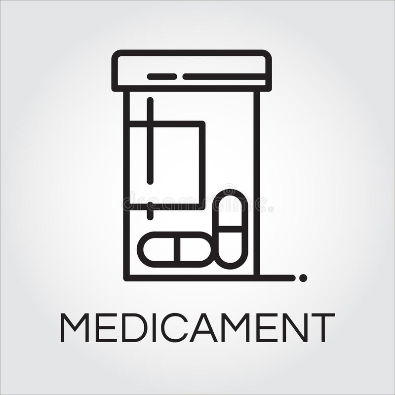 Health care medicament black icon drawing in outline style. Simplicity line pictograph. Delivery care concept. Linear logo for websites, mobile apps and other royalty free illustration