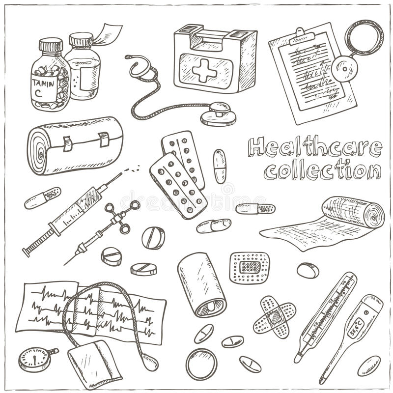 Health Care And Medicine Drawings Sketches Stock Vector