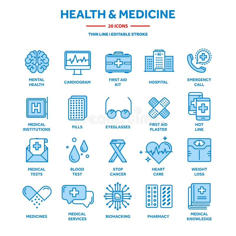 Health care, medicine. First aid. Medical blood tests and diagnostic. Heart cardiogram. Pills and drugs.Thin line web royalty free illustration