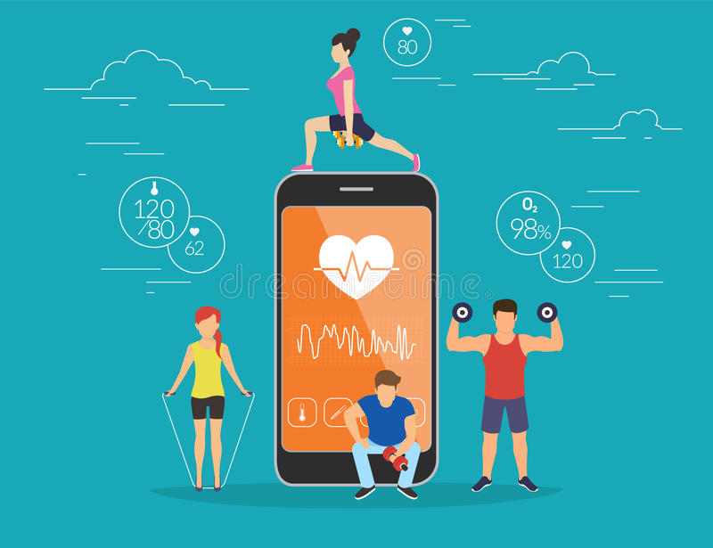 Health care mobile app concept illustration. Young men and women are standing near big smartphone with app for sport and fitness tracking heart beating data stock illustration