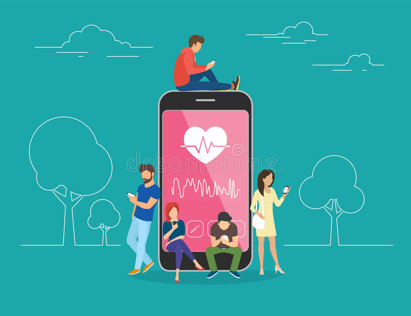 Health care mobile app concept illustration. Young men and women are standing near big smartphone and using their own smart phones for tracking heart beating royalty free illustration