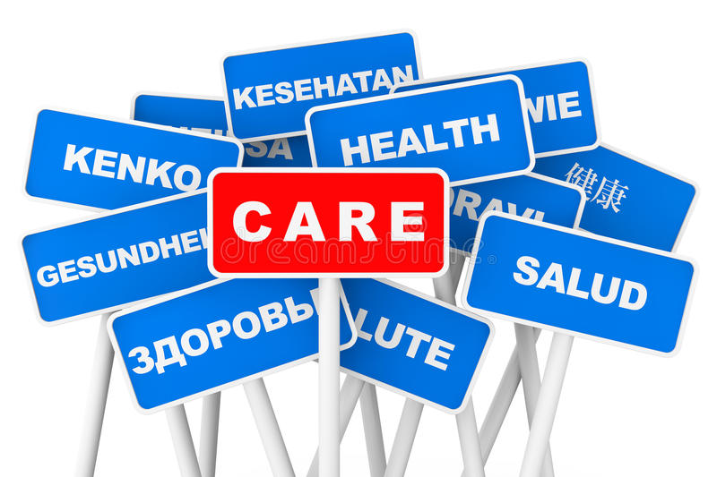 Health Care multilanguages banner signs. On a white background vector illustration