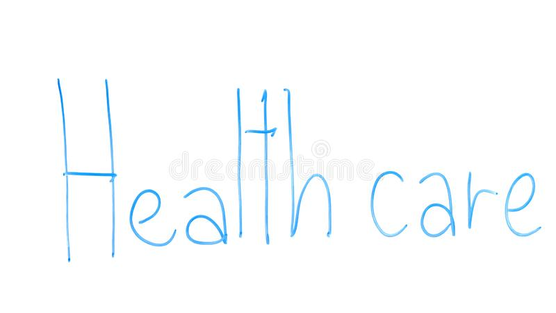 Health care phrase written on glass, medicine reform, care for population stock photos