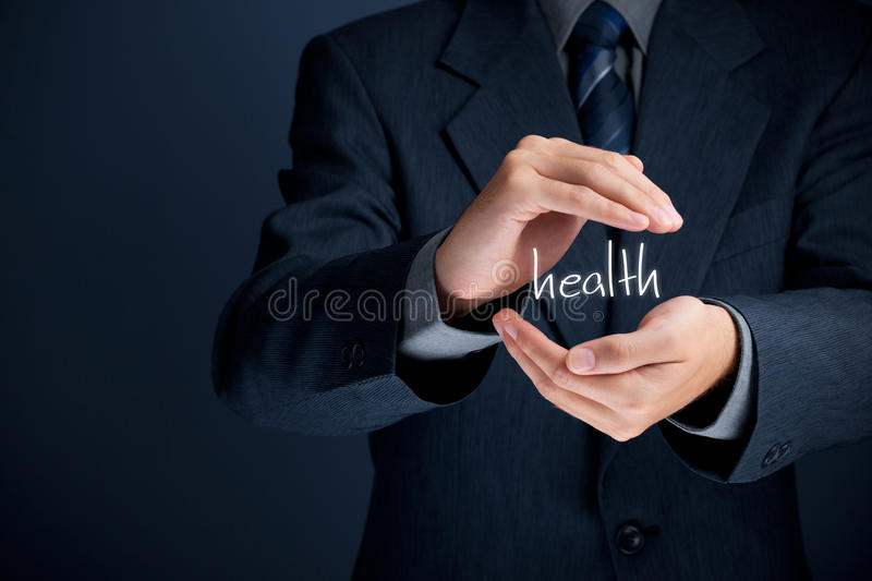 Health care. Protect health concept. Medical company (medical insurance, wellness clinic) businessman does protective gesture of health royalty free stock photos