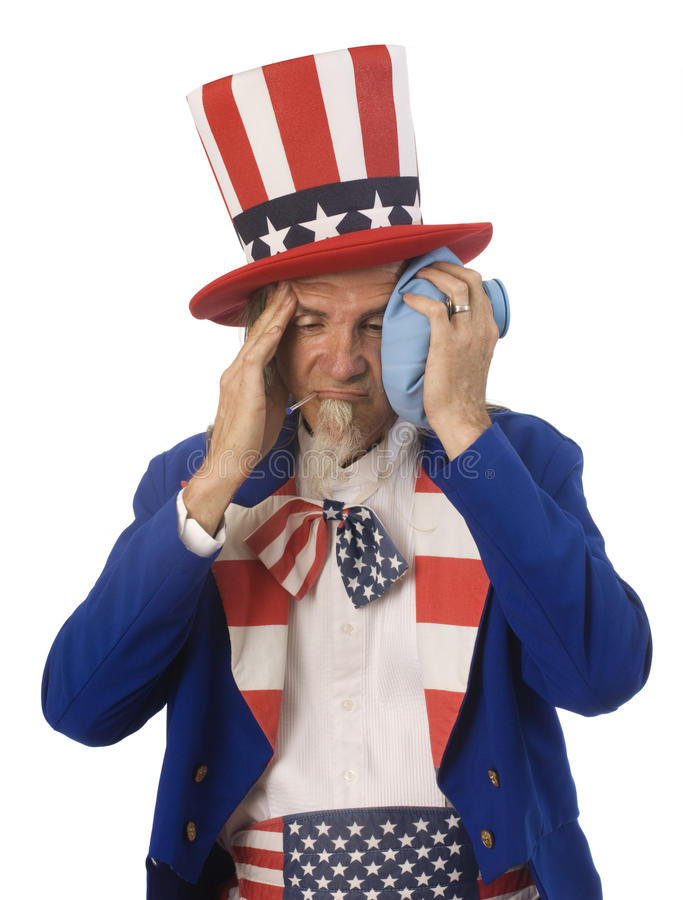 Health Care Reform. Uncle Sam feeling sick with an oral thermometer and an ice bag shot on a white background stock photos
