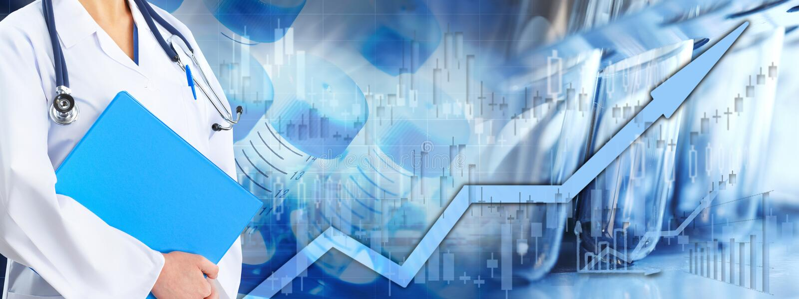 Health care stock market background. Healthcare medical biopharmaceutical investing stock chart background stock photo