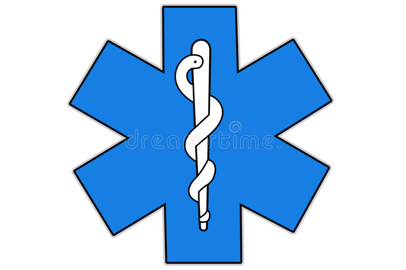 Health care symbol. Health care International symbol isolated on white background also called Strella of life, a six-pointed star, edged in white, and containing stock illustration