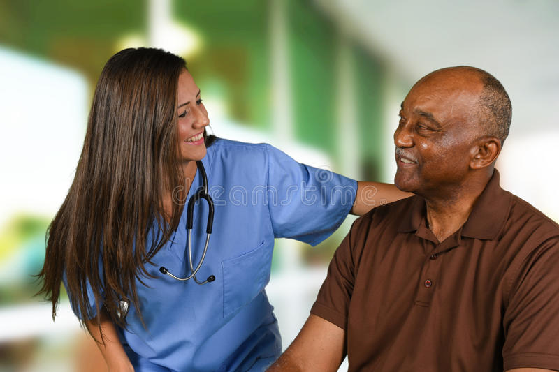 Health Care Worker and Elderly Patient royalty free stock photography