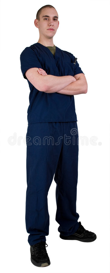 Health Care Worker In Scrubs. Young Male Health Care Worker In Scrubs royalty free stock images