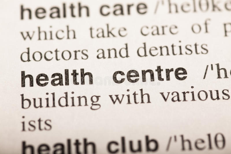 Health centre - text in dictionary. Macro shot. selective focus royalty free stock images