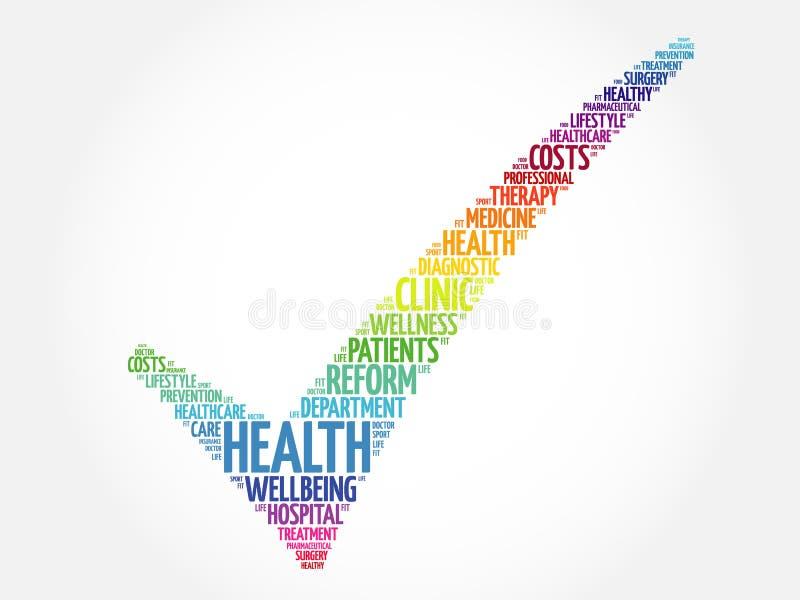 HEALTH check mark. Health concept word cloud stock illustration