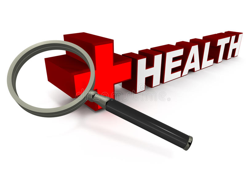 Health check up. A lens looking down on word health in red color, white background, concept of health checkup and regular visit to a healthcare center for vector illustration