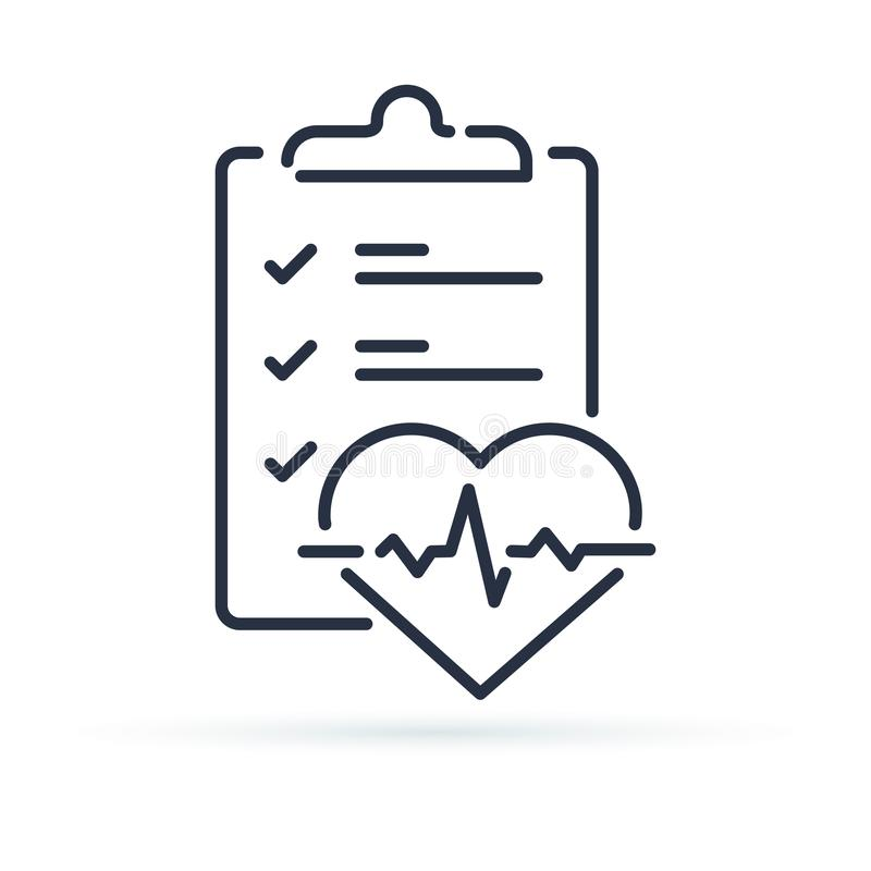 Health check up checklist for cardiovascular disease prevention test. Heart diagnostic electrocardiography service. Undergo ecg procedure for medical clipboard vector illustration